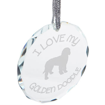 I Love My Goldendoodle Etched Round Crystal Ornament