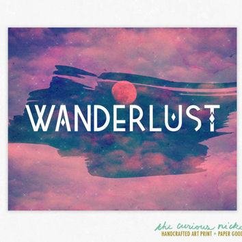 Wanderlust - Colorful Typography Art Print - Framable Wall Art Poster