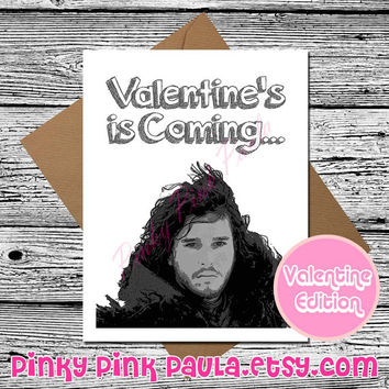 Jon Snow Card (Funny Valentine Card. Valentine Card Her. Valentines Day Card. Love Card For Him. Game Of Thrones. I Love You Know Nothing)