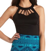 CAGED SWEETHEART HALTER TOP