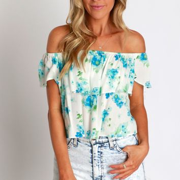 Flutters Of Floral Top Blue