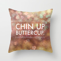 Chin Up Buttercup Throw Pillow by Olivia Joy StClaire