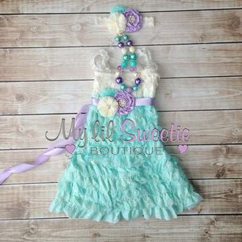 Ivory, light purple, light mint aqua 3 piece set, dress, sash, headband, baby girl outfit, special occasion dress, toddler dress, girls dres