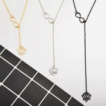 New Infinity Lotus Lariat Pendant Chain Link Fashion Beauty Jewelry Necklace