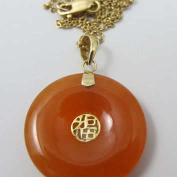 Chinese Carnelian Pendant Necklace 14K Yellow Gold Carnelian Jade Donut Shaped Shou Fortune Vintage Chinese Pendant