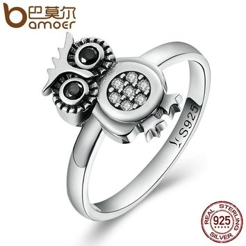 BAMOER  925 Sterling Silver Lovely Cute Owl Women Finger Ring ,Clear CZ Fashion Sterling Jewelry Gift S925 SCR077