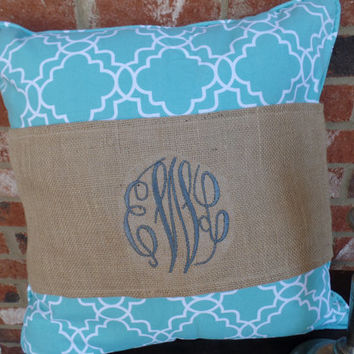 "Burlap Pillow Wrap  with embroidered 3 letter initial   for a 16"" or 18"" pillow"