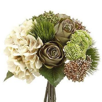 "Silk Hydrangea, Rose & Amaryllis Wedding Bouquet in Cream and Olive Green - 13"" Tall"