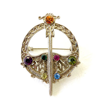 Vintage Celtic Sword Shield Brooch, Kilt Pin, Rhinestone Irish Jewelry