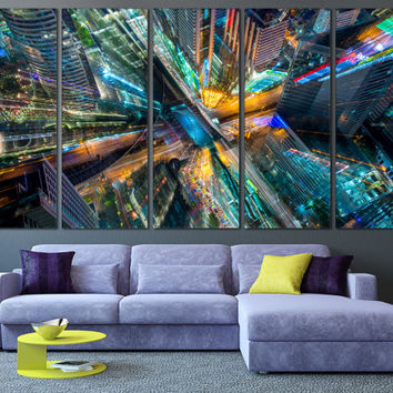 Abstract City Interior Design Art - City of Art Canvas Print, Abstract Canvas Print for Home or Office Decoration