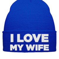 I LOVE MY WIFE EMBROIDERY HAT  - Beanie Cuffed Knit Cap