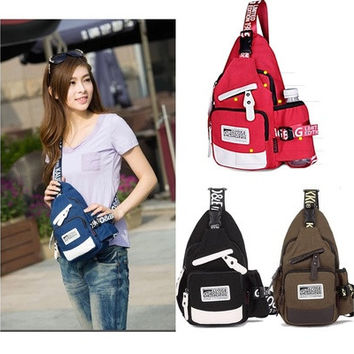 Fashion Women's Sling Canvas Backpack Chest Bag Tote Back to School Campus [8045404295]