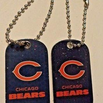 2 NFL Chicago Bears Blue Logo Dog Tags Key chains backpacks party Gift
