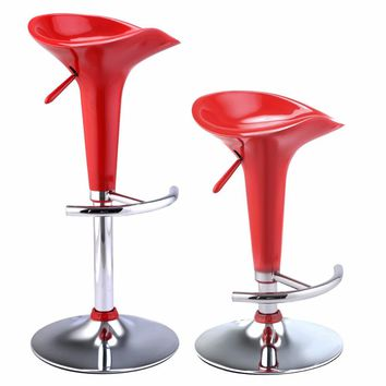 Goplus Set of 2 Modern Bombo Style Swivel Barstools Adjustable Counter Chair Red Black White Swivel Bar Stools HW51432