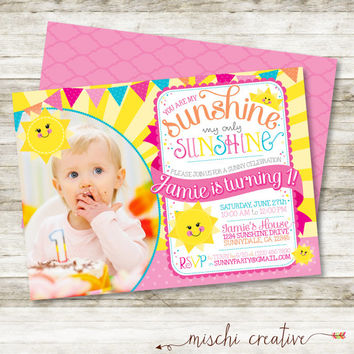 "You are My Sunshine, My Only Sunshine Little Girl's Birthday Party DIY Printable Invitation with Photo in Pinks and Yellows, 5"" x 7"""