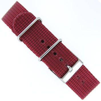 Nylon Strap Watch Band One-piece Sport Strap Burgundy Red Stainless Buckle 20 Millimeter
