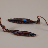 Antique copper feather earrings - Native American Jewelry -Back to School Accessory, Stocking Stuffer, Babysitter Gift under 15 - Metis Made