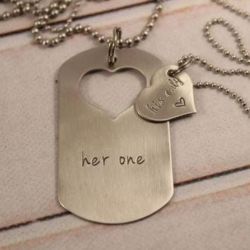 """Her One"" & ""His Only"" dog tag with heart cut out & Heart set"