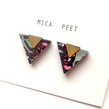 Patterned Triangle Geometric Earrings / Studs - Laser Cut Wood Geometric Jewellery Triangle Jewellery
