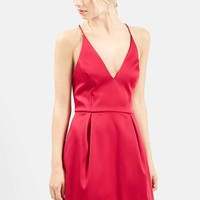 Women's Topshop V-Neck Satin Minidress,