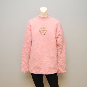 Vintage 1990's Victoria's Secret Authentic Country Line - Light Pink Quilted Oversized Sweatshirt Sweater with Mock Turtleneck Thick Cozy
