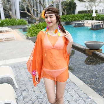 Women Summer Dress Chiffon Wrap Sarong Beach Swimwear Swimsuit Beach Bathing Suit Cover Up Bikini Scarf Pareo