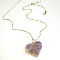 Raw Amethyst Necklace Jewelry February Birthstone Purple Geode Amethyst Pendant Necklace