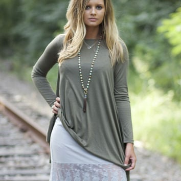 Gray Dress Extender with Lace Trim