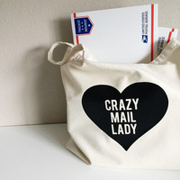 Crazy Mail Lady Tote, Tote Bag, Canvas Tote Bag, Tote Gift, Large Over Shoulder Tote Bag, Mail Lady