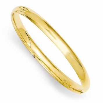 14k Gold 5 mm Polished Hinged Baby Bangle Bracelet