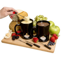Evelots Set Of 2 Personal Fondue Mugs Set, 8 Votives Included, Black Or White