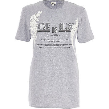 Grey marl 'love is blind' print T-shirt - print t-shirts / tanks - t shirts / tanks - tops - women