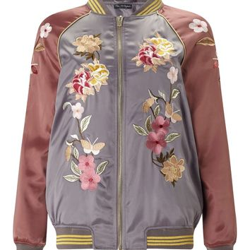 Burgundy And Grey Floral Bomber Jacket | Missselfridge