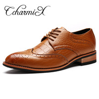 2017 New Designer Men Shoes Formal Oxford Brogues Oxfords Shoe Wingtips Italian Style Man Leather Dress Shoe Flats Male Mocassin