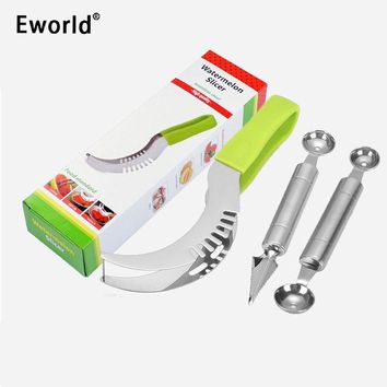 Eworld Party Supply Stainless Steel Cut Fruit Spoon Watermelon Slicer Cutter Corer Scoop Fast Slicer Smart Kitchen Cutting Tools