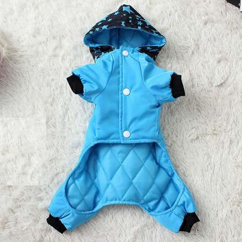 Waterproof Fashion Pet Clothes Dog Jumpsuit Large Pocket Thick Puppy Coat With Hooded Windproof Winter Cotton Pet Apparel XS-XXL