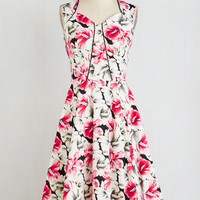 ModCloth Pinup Sleeveless Fit & Flare Dropped By to Say Hibiscus Dress