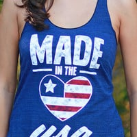 Made in the USA | Women's Tri-Indigo Racerback Tank Top
