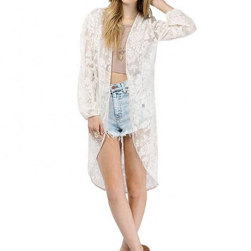 White Structured Lace Kimono With Mesh