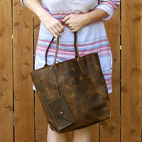 Leah Tall Leather Tote Bag