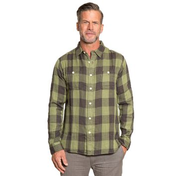 Road House Checks Long Sleeve 2 Pocket Shirt in Green by True Grit - FINAL SALE