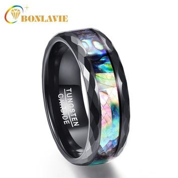 BONLAVIE 8mm Tungsten Ring Men Abalone Shell & Electroplated Black Faceted 100% Tungsten Carbide Rings Wedding Bands Rings