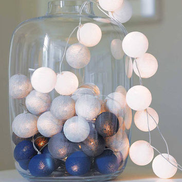 String Lights - White, LT Gray, Gray and Blue Cotton Ball, wall hanging,  home decor, holidays decoration, holidays favor