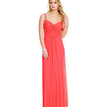 Jump Beaded Cage Back Gown | Dillards