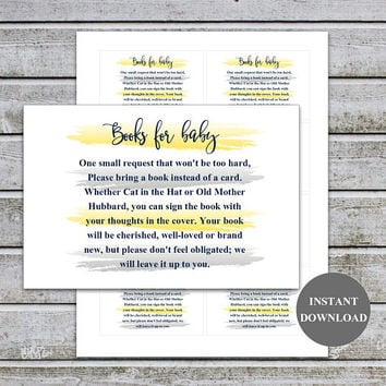 Baby Shower Bring a Book Instead of a Card Book Request Baby Library Printable Baby Shower Invitation Insert Card (87-2B) Instant Download