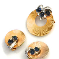 Marcel Boucher Art Deco Style Brooch and Earring Demi, Circle Set, Blue Glass Cabs, Paved Clear Crystal Ribbon, 1960s