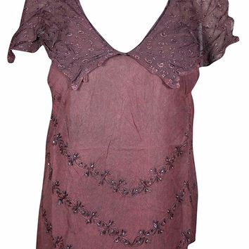 Mogul Interior Women's V-Neck Boho Top Ruffle Trim Embroidered Blouse S