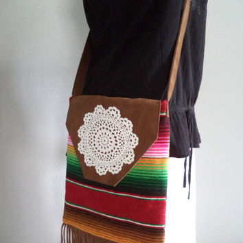 SALE One of a kind bohemian bag by Boho Rain/ upcycled/recycled fabrics/ woven/fringe purse/ hippie festival bag