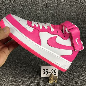 Nike Air Force 1 One White / Pink  Low Women Running Sport Casual Shoes