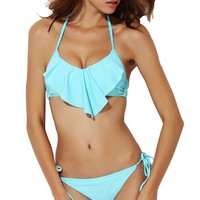 Women's Strap Flounce Trimed Push Up Removable Padding Swimwear Set